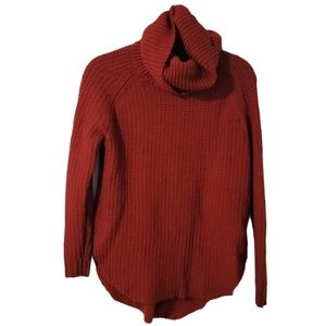 A New Day Red Oversized Tunic Turtleneck Sweater